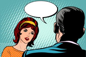 Girl and male dialogue pop art retro style. Man and woman talking retro vector